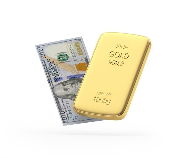 Nota de dólar e barra de ouro 3d