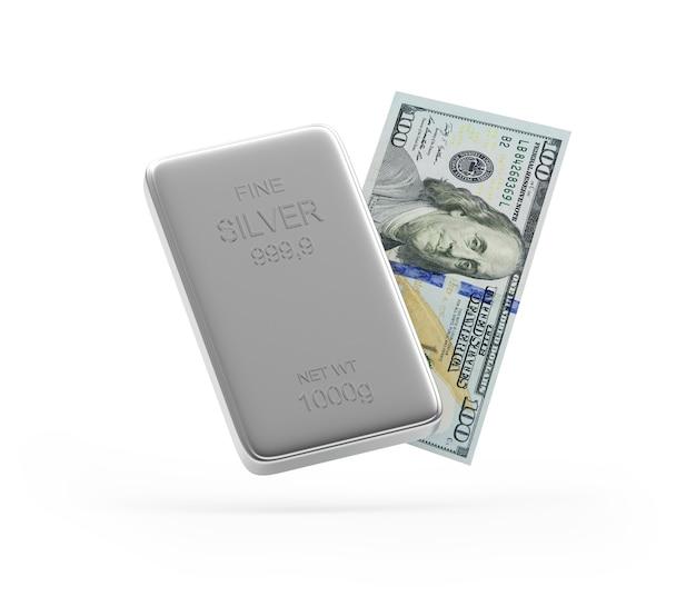 Nota de dólar e barra de prata