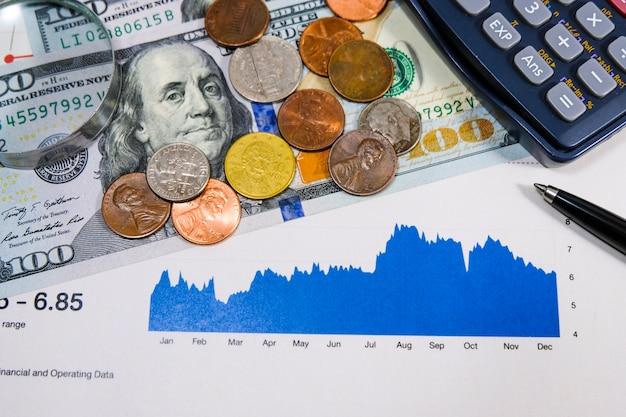 Nota de dólar e moedas com gráfico de investimento