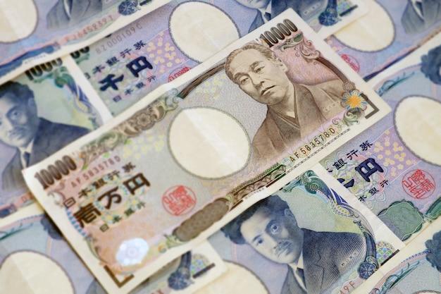 Nota de moeda japonesa de 10.000 ienes. imagem de foco seletivo de fundo.