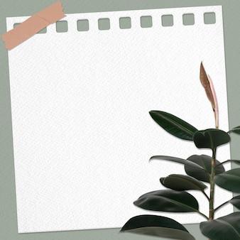Nota de papel com planta de borracha