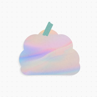 Nota de papel holográfico com forma de nuvem e fita washi
