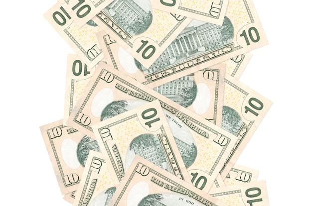 Notas de 10 dólares americanos voando isoladas no branco