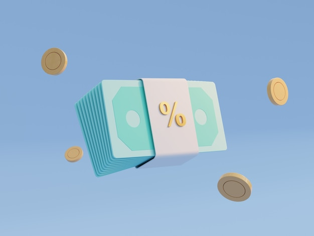 Notas de banco faturam dinheiro e moedas sobre fundo azul. salário de bônus e comissão e conceito de salário. símbolo de pagamento e bancário online. tema econômico-financeiro do negócio. renderização de ilustração 3d.