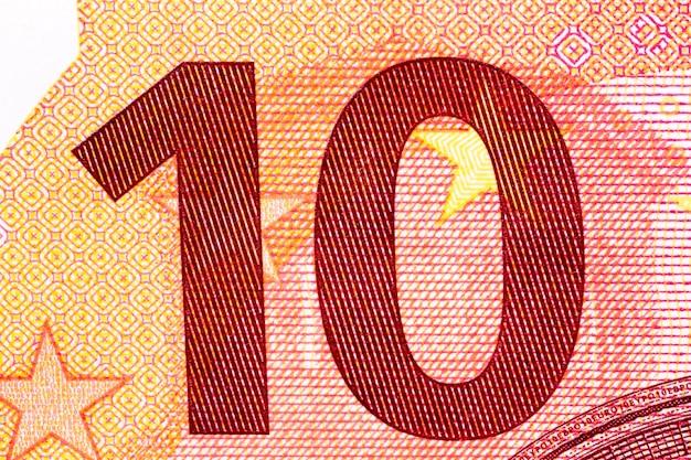 Notas de dez euros em macro tiro. foto de alta resolução.