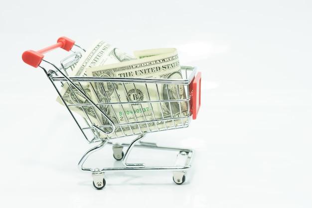 Notas de dinheiro conceito dólar em um carrinho de compras em branco isolado
