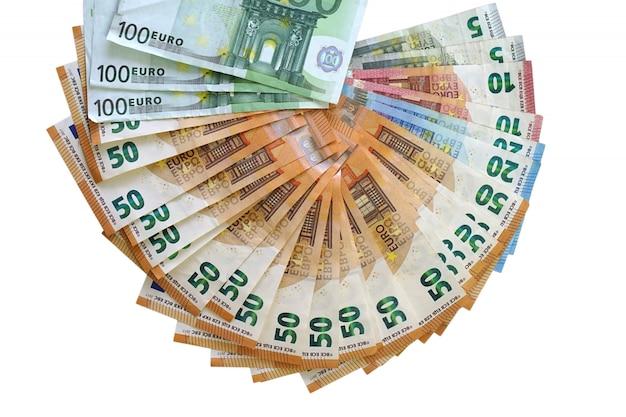 Notas de dinheiro do euro. fã de notas de euro.