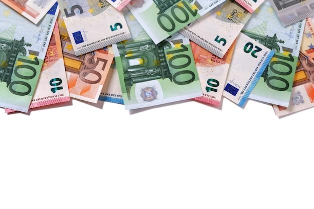 Notas de dinheiro euro de borda superior