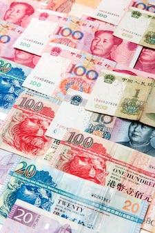 Notas de dinheiro na china, macau e hong kong