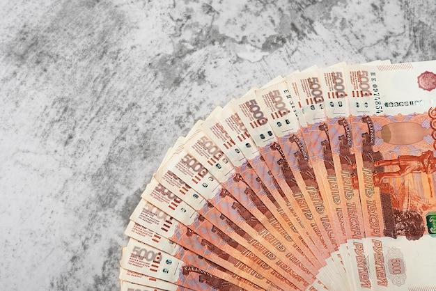 Notas de dinheiro russas de cinco mil rublos, plano de fundo