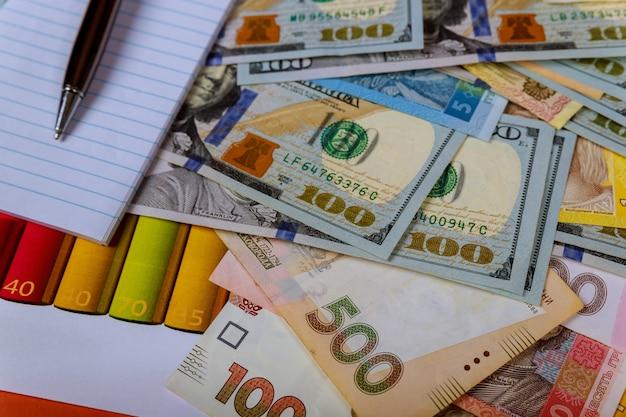 Notas de dinheiro: usd e uah. hryvnias do reino unido e câmbio do dólar americano. moeda