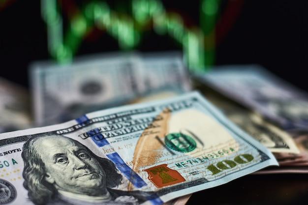 Notas de dólar dos eua contra o fundo de cotações de mercado de comércio. negócios e um conceito financeiro