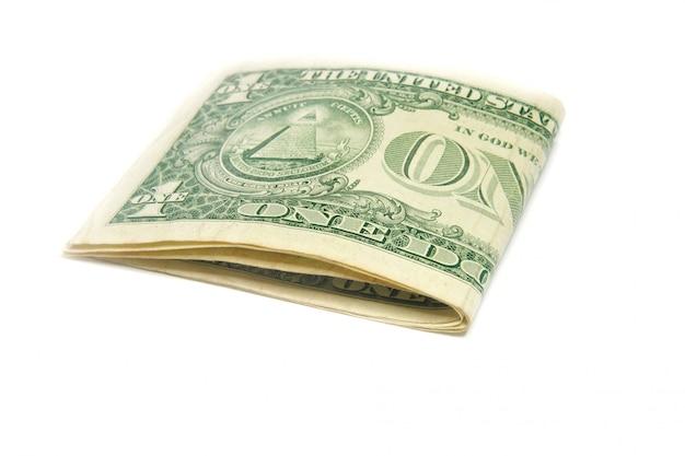 Notas de dólar dos eua dobradas isoladas