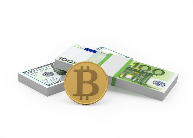 Notas de dólar e euro com bitcoin