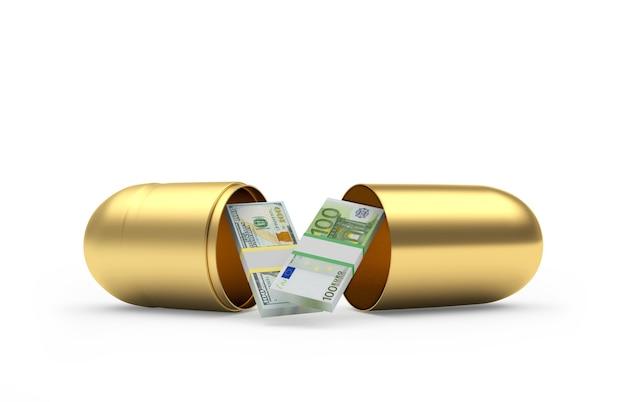 Notas de dólar e euro dentro de uma cápsula médica dourada
