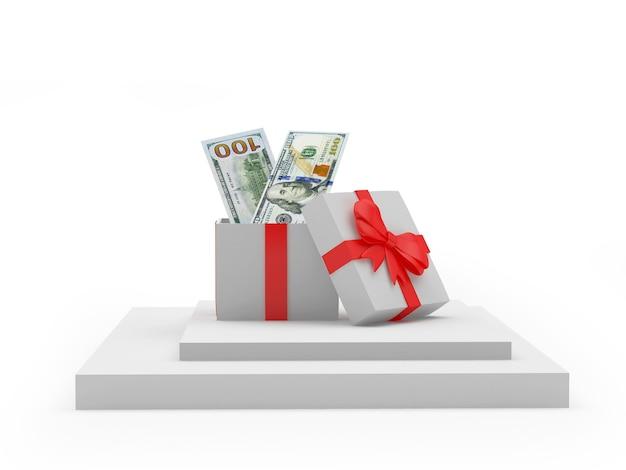 Notas de dólar em caixa de presente em um suporte 3d