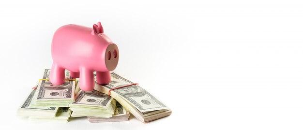 Notas de dólar em pacotes em branco nas proximidades é um cofrinho na forma de um porco rosa.