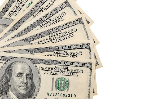 Notas de dólar isoladas em um fundo branco