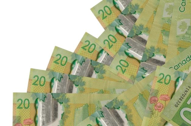 Notas de dólares canadenses estão em ordem diferente, isoladas