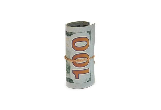 Notas de dólares em fundo branco