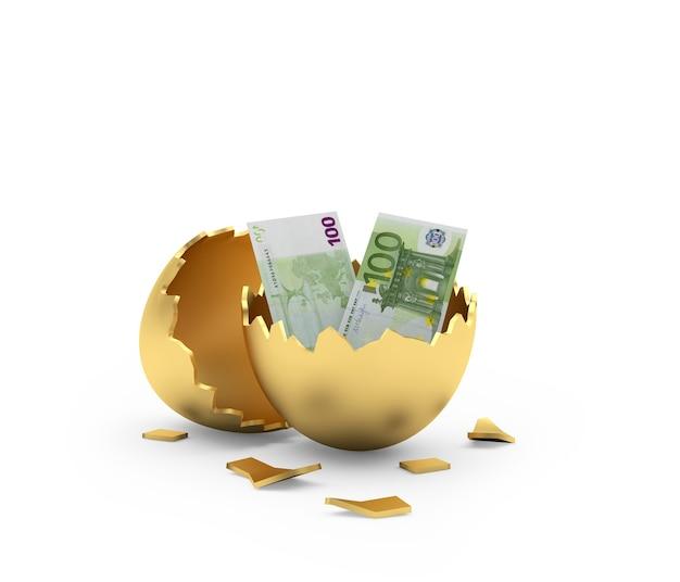 Notas de euro em casca de ovo dourada quebrada