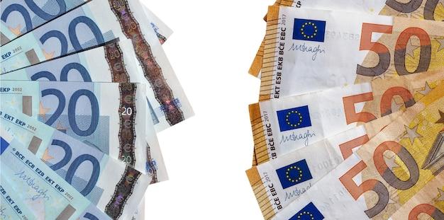 Notas de euro, união europeia isolada sobre o branco