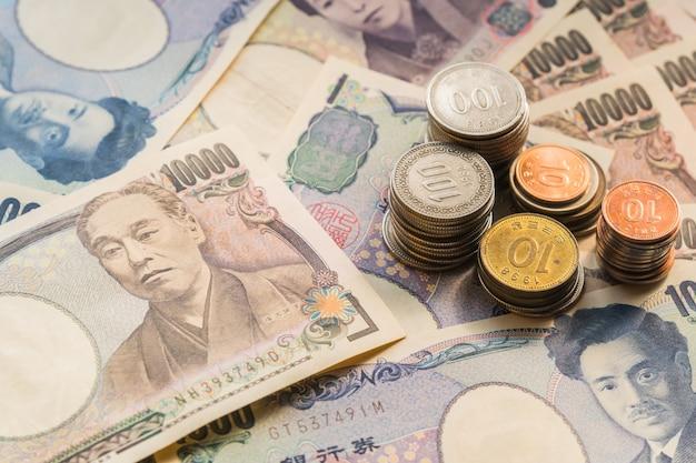 Notas de ienes do japão dinheiro