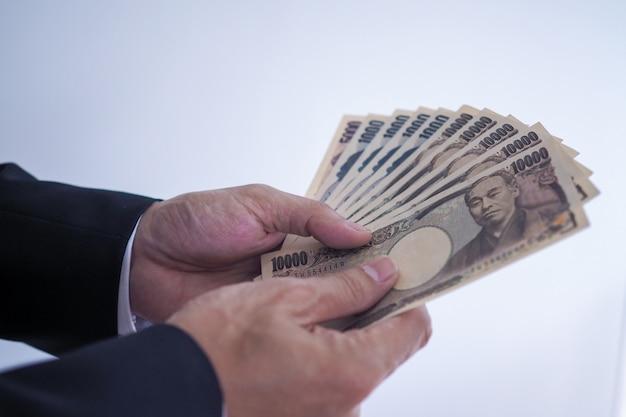 Notas de ienes japoneses para fundo de conceito de dinheiro