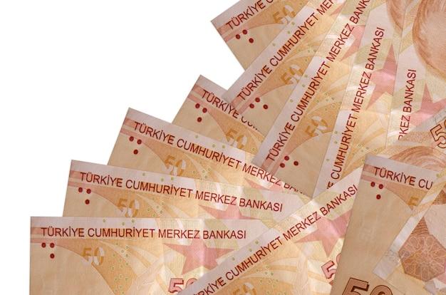 Notas de liras turcas colocadas em ordem diferente na superfície branca