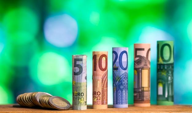 Notas de notas roladas de cinco, dez, vinte, cinquenta e cem euros
