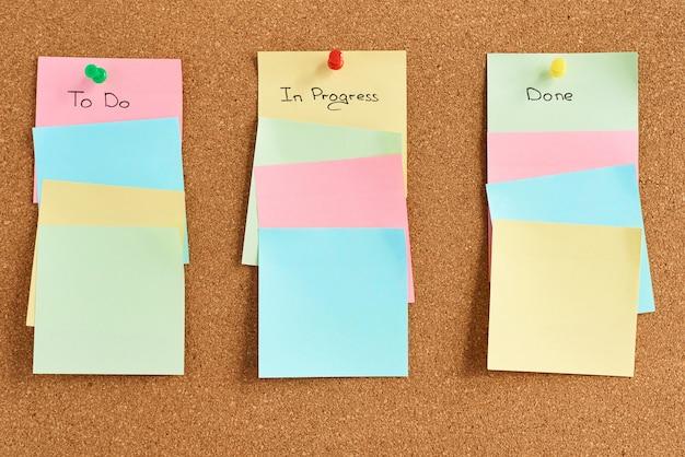Notas de papel colorido com palavras