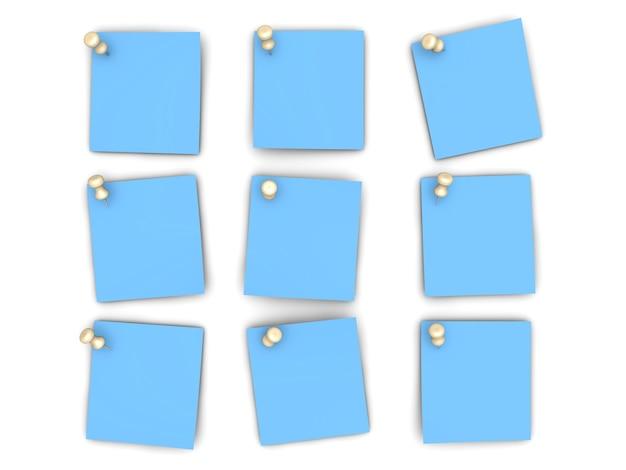 Notas de papel fixadas. ilustração 3d renderizada.
