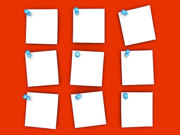 Notas de papel fixadas renderização 3d