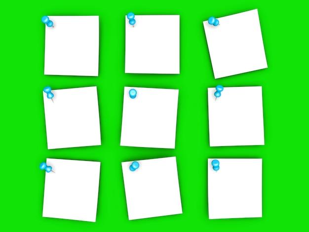 Notas de papel fixadas.