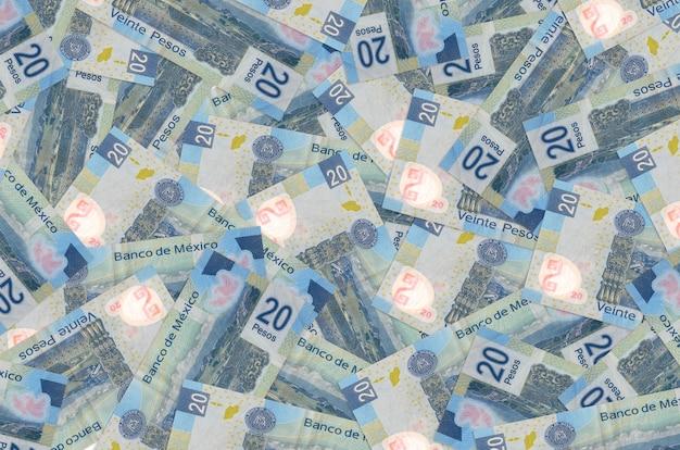 Notas de pesos mexicanos empilhadas