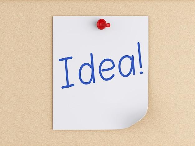 Notas de post-it 3d com alfinete sobre cortiça. conceito de negócios