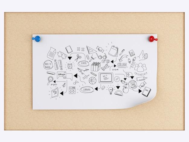 Notas de post-it 3d com esboço de educação sobre placa de cortiça