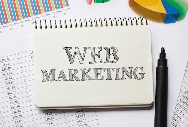 Notebook com ferramentas e notas sobre marketing na web