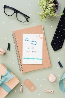 Notebook com mensagem para o dia dos pais