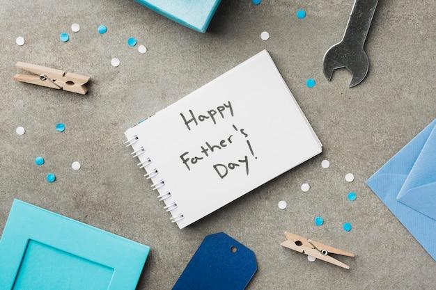 Notebook com mensagem para o pai