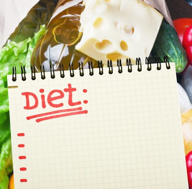 Notebook com plano de dieta