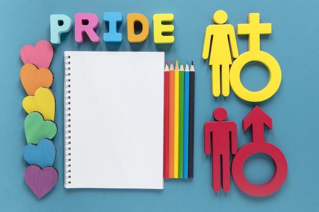 Notebook com símbolos de gênero