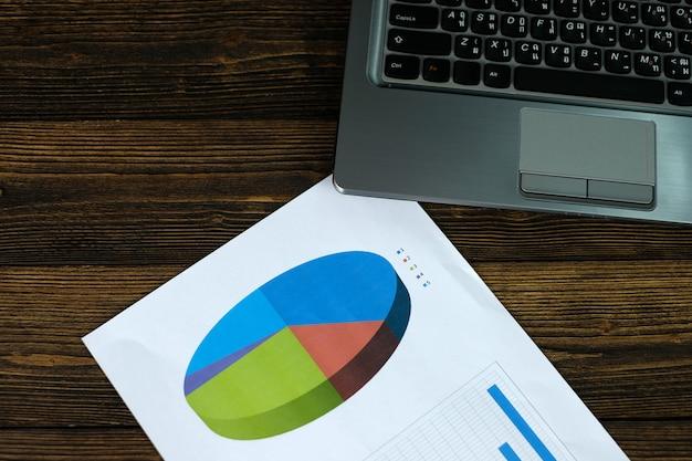 Notebook laptop computador e gráfico financeiro em papel branco