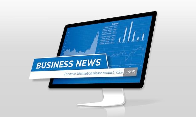 Notícias de negócios em um monitor de tela