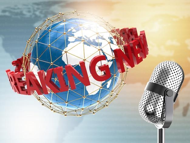 Notícias de última hora com microfone e planeta