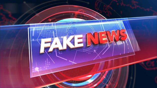 Notícias falsas de texto e notícias gráficas com linhas e formas circulares em estúdio, fundo abstrato. estilo de ilustração 3d elegante e luxuoso para modelo de notícias