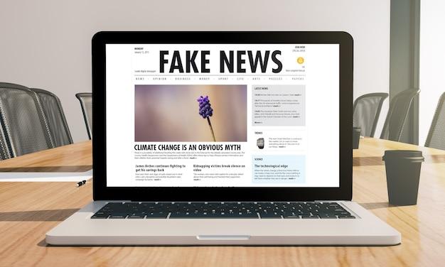 Notícias falsas no laptop na renderização em 3d da sala de conferências