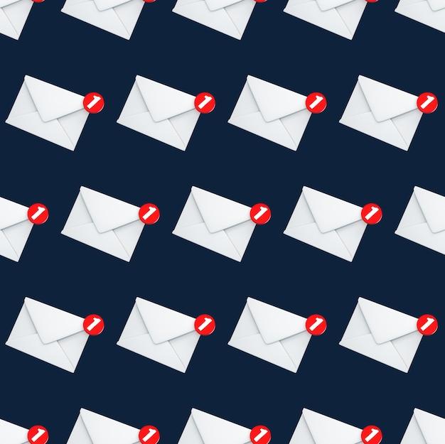 Notificação de email de padrão uniforme, uma nova mensagem de email no conceito de caixa de entrada