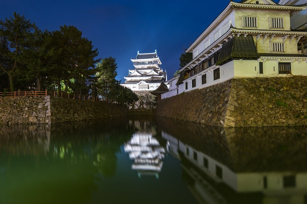 Noturna, vista, de, kokura, castelo, à noite, em, fukuoka, japão