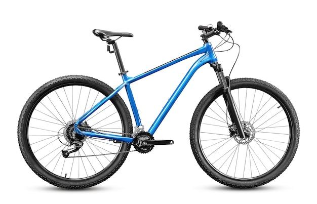 Nova bicicleta de montanha com rodas de 29 polegadas e moldura azul isolada no fundo branco.